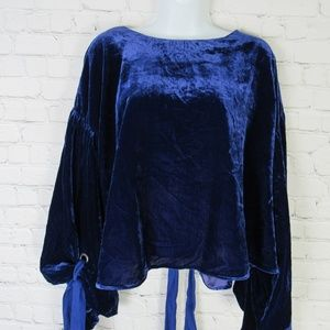 Free People Blouse Shirt Top Womens Large L Blue